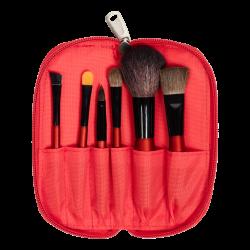 Набір пензликів для нанесення косметики Travel Brush Set (6 PCS) RED